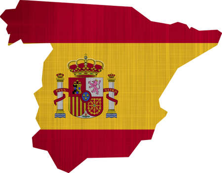 Spain Flag Map on a white background photo