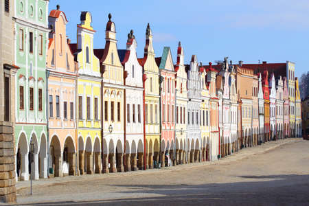 Town square in Telc with renaissance and baroque colorful houses Stock Photo