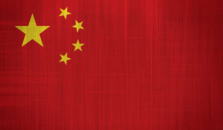 China Flag with a fabric texture
