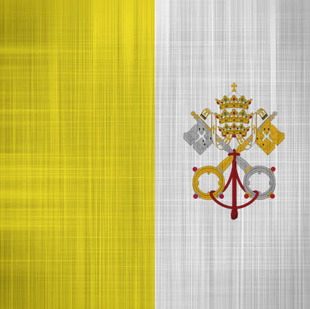roman catholic: Vatican Flag with a fabric texture