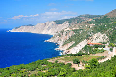 kefallinia: Cephalonia shore cliffs and Kipouria monastery Stock Photo