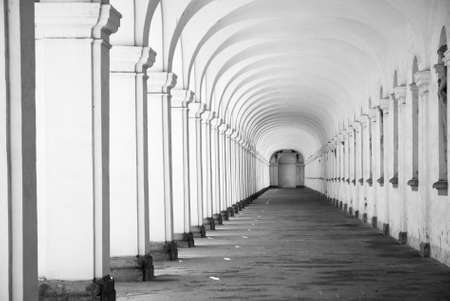 Long baroque arcade colonnade in black and white tone Stock Photo - 22860987