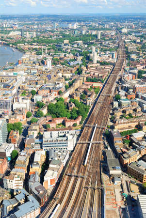 london bridge: Multiple rails near London Bridge station station viewed from above