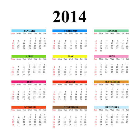 2014 calendar designed on a white background. photo