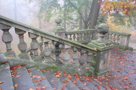 banister: Old chateau banister in misty autumn park