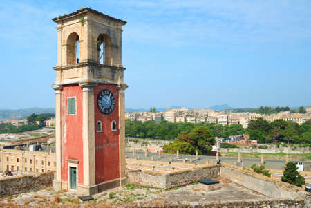 kerkyra: Clock tower in the old fortress in Kerkyra, Corfu, Greece