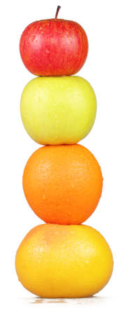 Column of colorful fruit on a white background