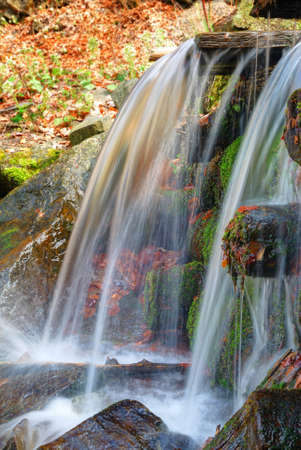 Small waterfall with clean water from the woods photo