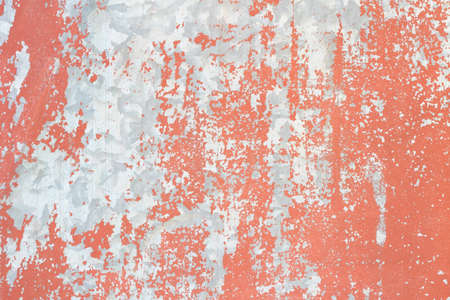 Metal plate with red paint peeling off texture Stock Photo