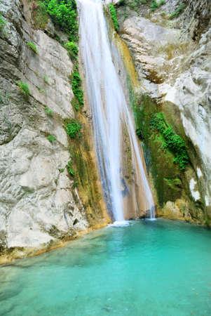 Beautiful pure clean waterfall near Nidri on the island of Lefkada in Greece photo