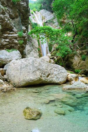 Beautiful pure clean pool with waterfall near Nidri on the island of Lefkada in Greece photo