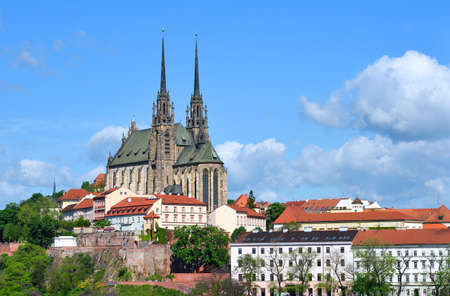 Cathedral of Saints Peter and Paul in Brno in the Czech Republic 스톡 콘텐츠