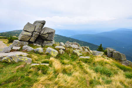 Eroded stones on a mountain peak in the mountains of Krkonose, Czech Republic