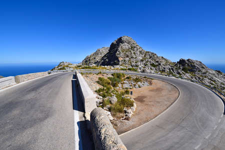 Famous hairpin curve on the road to the village of Sa Calobra on Mallorca, Spain