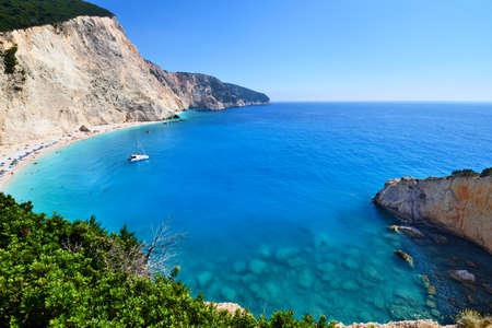 Panoramic view of Porto Katsiki beach on Lefkada in Greece Reklamní fotografie
