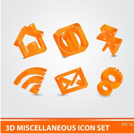3d yellow miscellaneous icon set