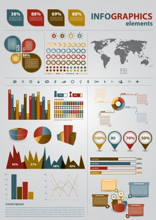 web icons: Retro infographics set  World Map and Information Graphics Illustration
