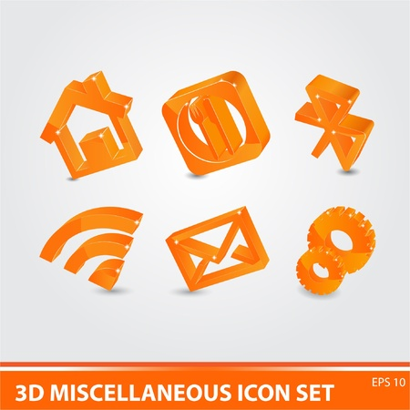 3d icon set Vector