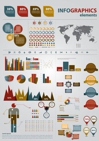 with sets of elements: Retro infographics set. World Map and Information Graphics Illustration