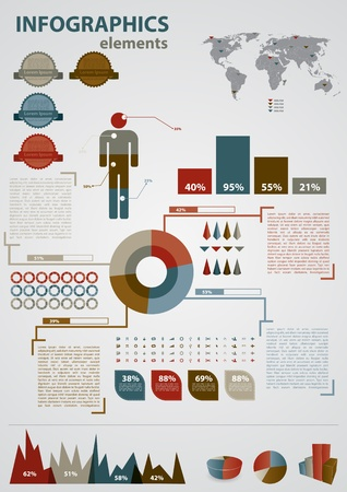 infomation: Retro infographics set. World Map and Information Graphics Illustration