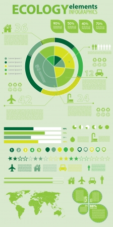 Ecology infographics collection, charts, world map, graphic vector elements Illustration