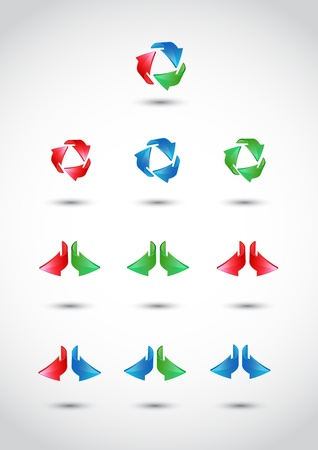 3 point perspective: Colorful 3d vector arrows set Illustration