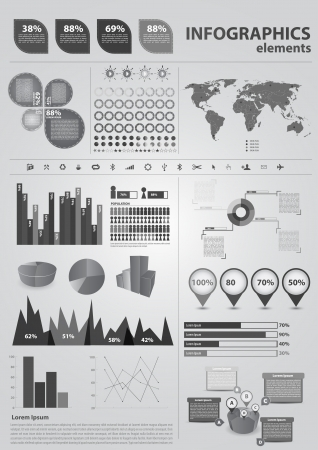 economic growth: Retro infographics set. World Map and Information Graphics Illustration
