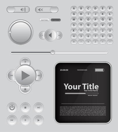 Light Web UI Elements Design Gray  Elements  Buttons, Switchers, Slider Stock Vector - 16656107