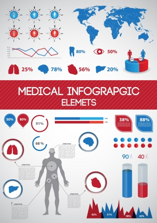 medical abstract: Medical infographics  Human body with internal organs