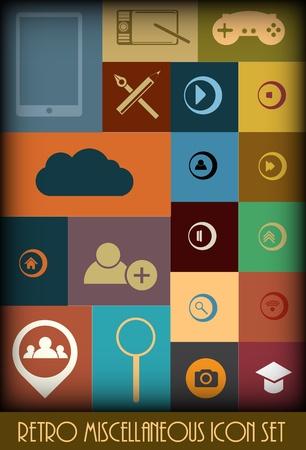 Retro Miscellaneous Icon Set Colored