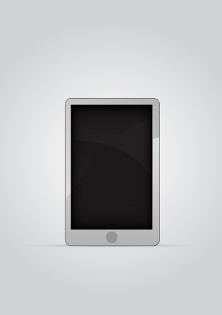 phon: Realistic mobile phone with blank screen isolated on black background. Touch phon style gadget. Vector illustration.