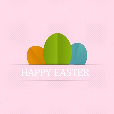 Happy easter cards illustration with easter eggs, and font  Vector