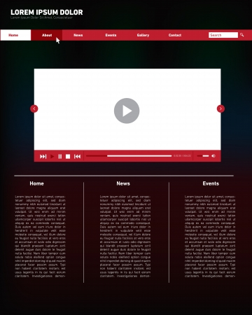 Moder Minimal Website Design, with Media Player Softwear  Black, White and Red Colors  Vector