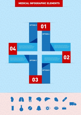 Medical Numbered Infographic Elements, with textbox and icon set Stock Vector - 21069815