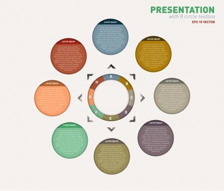 bola ocho: Plantilla Círculo Diseño Moderno se puede utilizar para la infografía contados banners líneas de corte horizontales gráficos o sitio web de vectores diseño Vectores