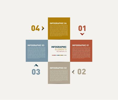 Modern Design template   can be used for infographics   numbered banners   cutout square   graphic or website layout vector