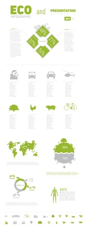 ECO Infograpic Element and Presentation with Worldmap. Print Usage.