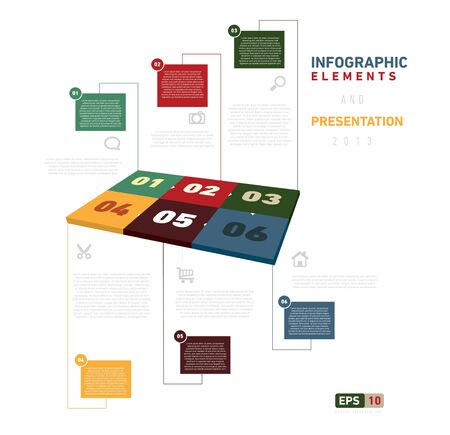 Colorfull Infographic Elements with six text box, and presentation.