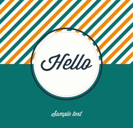 Flat Design Template with Hello text. Illustration