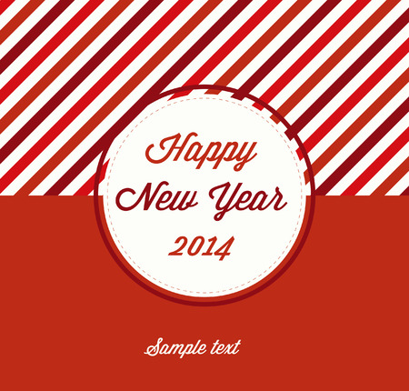 Red Flat Happy New Year Greeting Design 2014