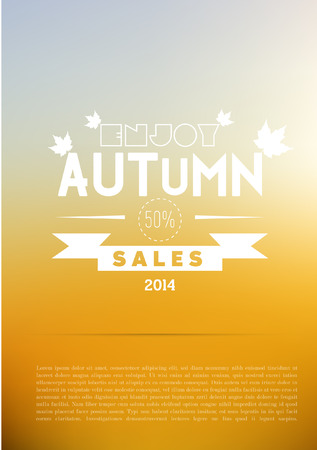 autumn background: Autumn abstract sale and advertisment background - with sample text  Illustration