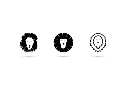head of lion: Lion head icon set 3  Black  Flat  Minimal