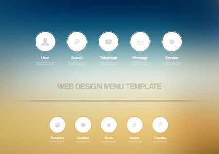 Web design Menu template with buttons