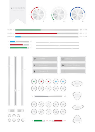 User Interface Design Elements for Moblile and Web. Editable. High Quality Modern Design. Sliders. Buttons.