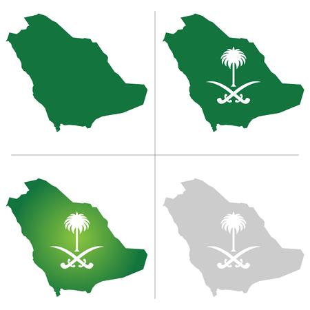 Saudi Arabia Map and National icon
