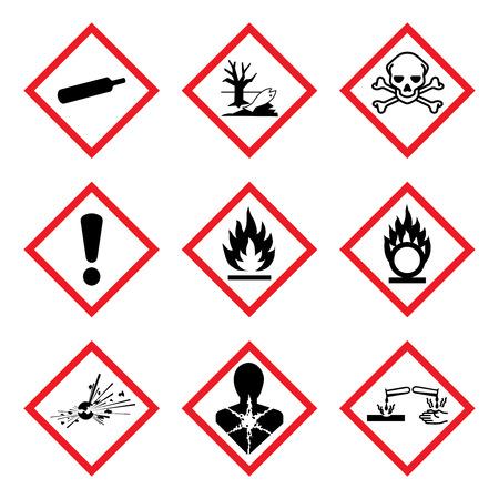 GHS 9 Nowy Piktogram Zagrożeń. Znak ostrzegawczy zagrożenia (WHMIS), izolowane ilustracji wektorowych