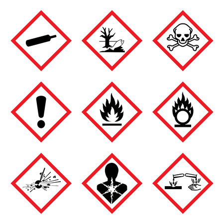 GHS 9 New Hazard Pictogram. Hazard warning sign ( WHMIS ), isolated vector illustration Vectores