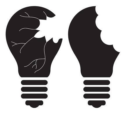 Light Bulb - Killing, Smashing, Shattering, Breaking, destroying, Stealing good idea concept. Vector icon Illusztráció