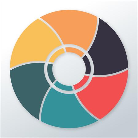 Infographic diagram template with 6 options  parts, circular chart. Vector illustration Illusztráció