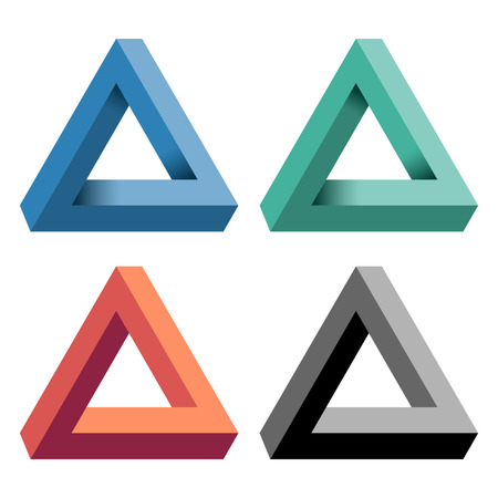 Penrose Triangle with a variety of color. Vector illustration